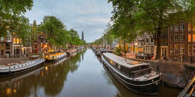 Prinsengracht Canal at Dusk with Westerkerk in Distance, Amsterdam, North Holland, Netherlands--Photographic Print
