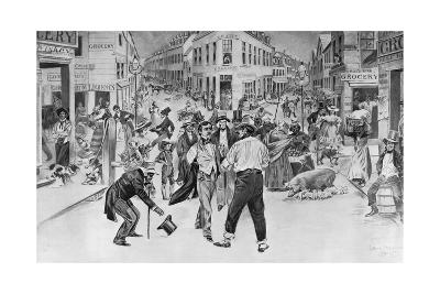 Print of an Encounter between a Swell and a Bowery Boy in the Five Points Neighborhood--Giclee Print