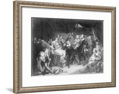 Print of Pilgrim Fathers Signing Mayflower Compact--Framed Giclee Print