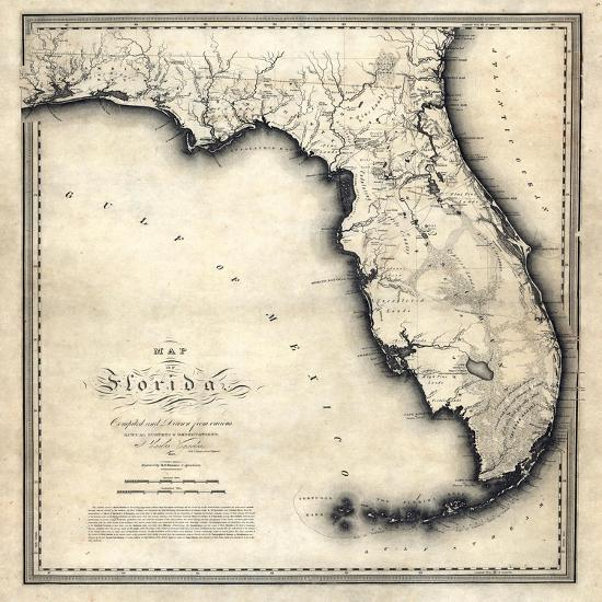 Florida State Map Florida United States Giclee Print At - 1823 us map