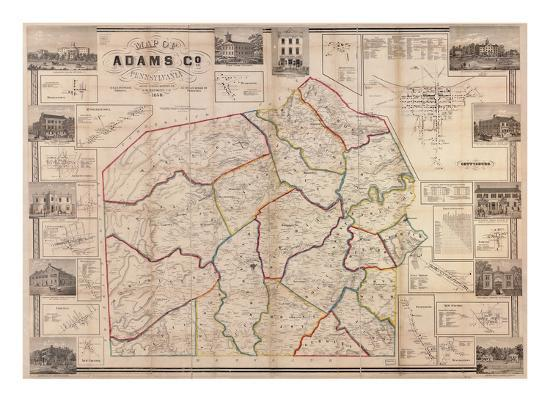1858-adams-county-wall-map-pennsylvania-united-states