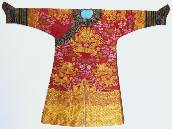 a-bronze-silk-dragon-robe-woven-with-yellow-dragons
