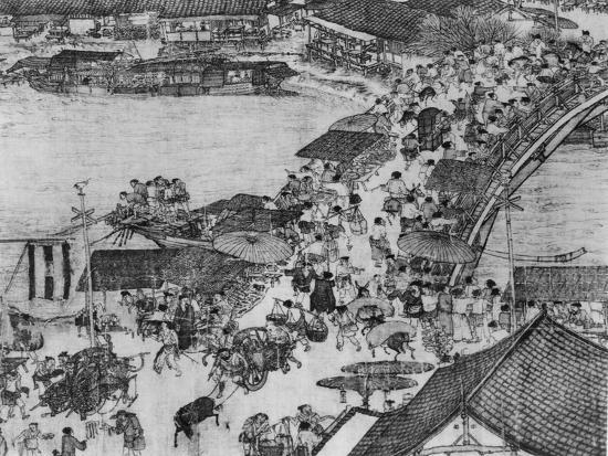 a-detail-of-a-scroll-called-going-up-the-river-at-the-qingming-spring-festival-by-zhang-zeduan