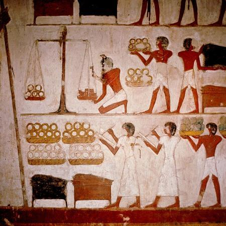 a-detail-of-a-wall-painting-in-the-tomb-of-panekhmen-depicting-metal-workers-weighing-gold-on