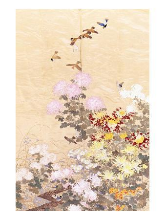 a-hanging-of-gold-lame-embroidered-in-silks-with-finches-perched-amongst-pink-yellow-and-white