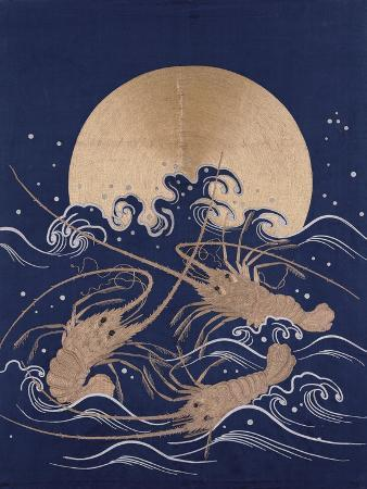 a-japanese-embroidered-textile-panel-of-dark-blue-satin-depicting-three-crayfish-among-waves-before