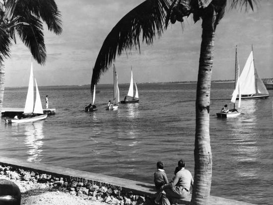 a-man-and-two-children-watch-small-sailboats-leaving-a-dock-off-miami-beach-c-1937