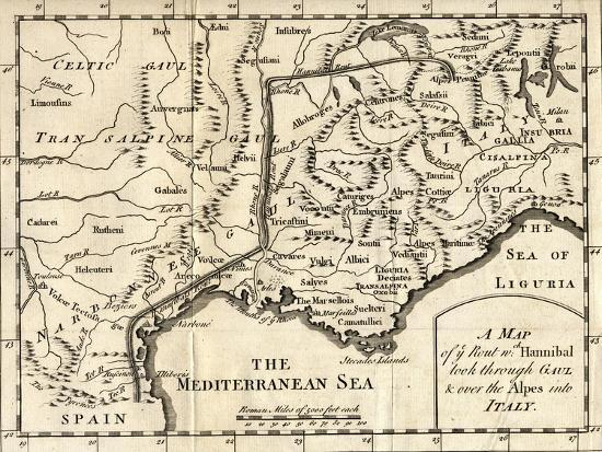 a-map-of-the-route-hannibal-took-through-gaul-and-over-the-alps-into-italy