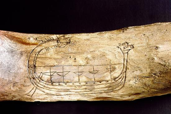 a-norse-ship-incised-on-a-piece-of-wood