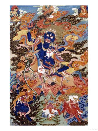 a-tibetan-thang-ka-depicting-bse-i-khrab-can-on-his-horse-circa-1900