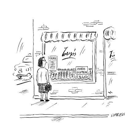 a-woman-looks-into-a-restaurant-window-that-has-a-sign-reading-free-glute-new-yorker-cartoon