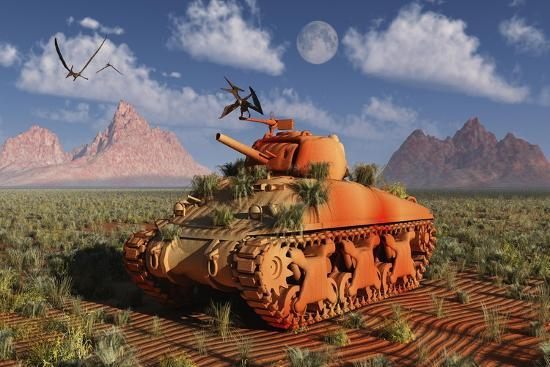 a-world-war-ii-american-sherman-tank-out-of-context-and-time