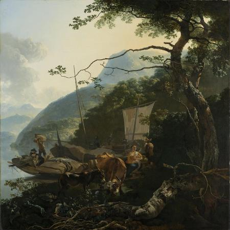 adam-pynacker-boatmen-moored-on-the-shore-of-an-italian-lake-1650-70