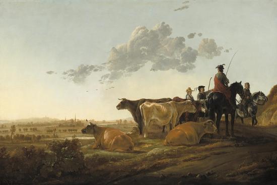 aelbert-cuyp-landscape-with-herdsmen-c-1650-52