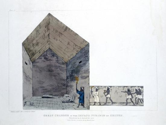 agostino-aglio-great-chamber-in-the-second-pyramid-of-ghizeh-egypt-1820