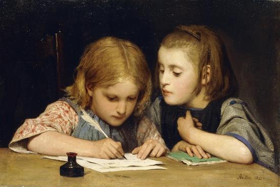 albert-anker-the-lesson-der-schreibunterricht-1865
