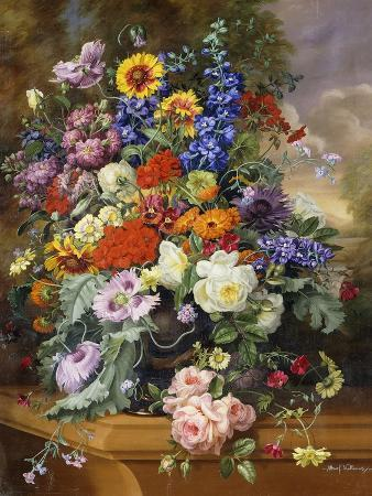 albert-williams-still-life-with-roses-delphiniums-poppies-and-marigolds-on-a-ledge