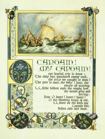 alberto-sangorski-opening-page-of-walt-whitman-s-poem-o-captain-my-captain-with-a-vignette-of-a-harbour-scene