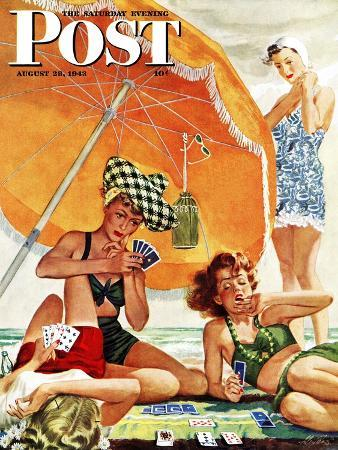 alex-ross-card-game-at-the-beach-saturday-evening-post-cover-august-28-1943