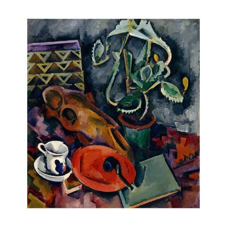 alexander-vassilyevich-kuprin-still-life-with-a-cactus-and-a-horse-s-skull-against-a-black-background-1917