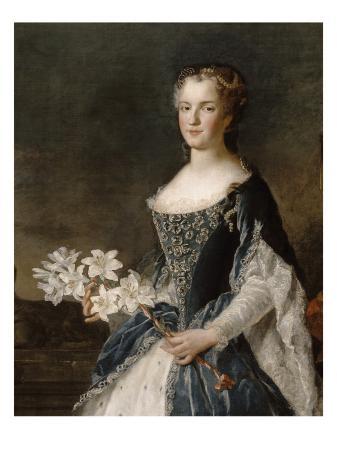 alexis-simon-belle-reine-marie-leszczynska-reine-de-france-1703-1768-vers-1730-tenant-une-branche-de-lys-suivie