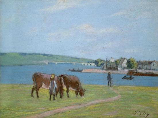 alfred-sisley-cows-on-the-banks-of-the-seine-at-saint-mammes-pastel