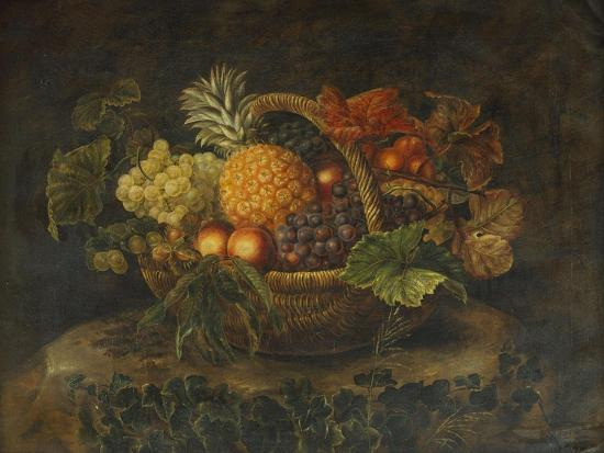 alfrida-vilhelmine-ludovica-baadsgaard-a-basket-of-grapes-peaches-and-a-pineapple-on-a-rock-in-a-landscape