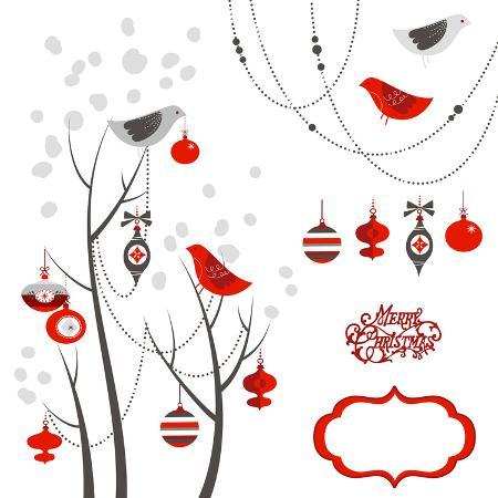 alisa-foytik-retro-christmas-card-with-two-birds-white-snowflakes-winter-trees-and-baubles