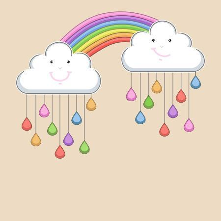 allies-interactive-monsoon-season-background-with-happy-clouds-rainbow-and-colorful-water-drops-kiddish-concept