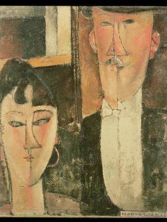 amedeo-modigliani-bride-and-groom-the-couple-1915-16