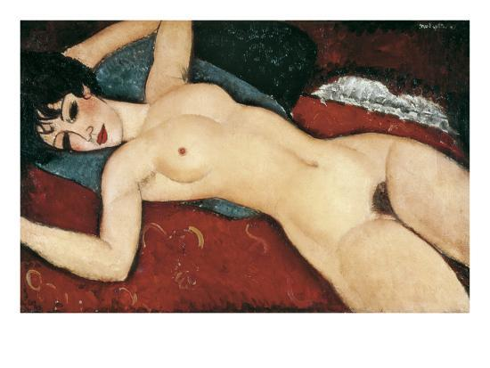 amedeo-modigliani-sleeping-nude-with-arms-open-red-nude