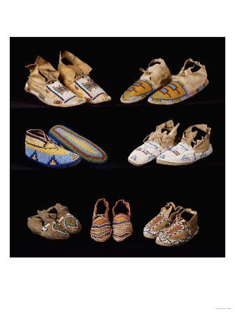 an-assortment-of-arapaho-crow-western-sioux-apache-and-blackfeet-beaded-hide-moccasins