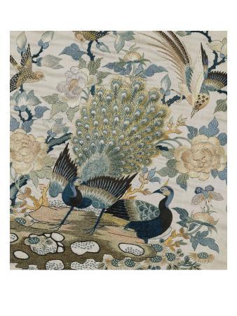 an-embroidered-roundel-of-cream-satin-with-a-pair-of-peacocks-and-other-birds-among-flowers