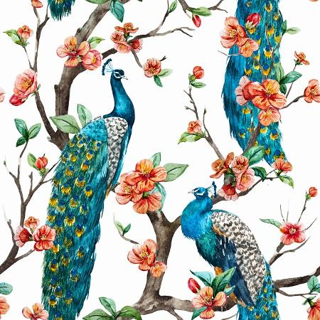 anastasia-zenina-lembrik-watercolor-pattern-peacock-on-a-tree-cherry-flowering-trees