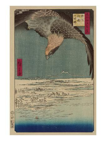 ando-hiroshige-hawk-flying-above-a-snowy-landscape-along-the-coastline