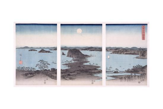 ando-hiroshige-panorama-of-views-of-kanazawa-under-full-moon-from-the-series-snow-moon-and-flowers-1857