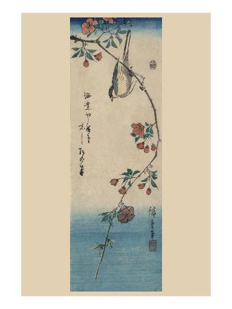 ando-hiroshige-small-bird-on-a-branch-of-kaidozakura-kaido-ni-shokin