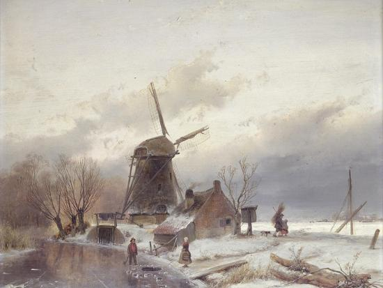 andreas-schelfhout-a-frozen-river-landscape-with-a-windmill