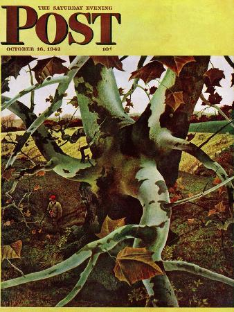 andrew-wyeth-sycamore-tree-and-hunter-saturday-evening-post-cover-october-16-1943