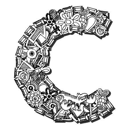 andriy-zholudyev-childlike-doodle-abc-crazy-letter-c-isolated-on-white-background