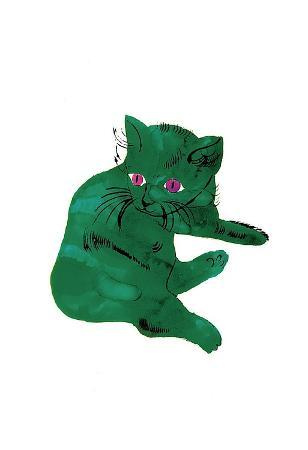 andy-warhol-cat-from-25-cats-named-sam-and-one-blue-pussy-c-1954-green-cat