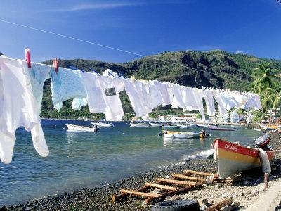 Drying Laundry on the Beach, St. Lucia Premium ...