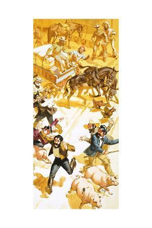 angus-mcbride-a-man-runs-through-the-streets-of-san-francisco-announcing-the-discovery-of-gold