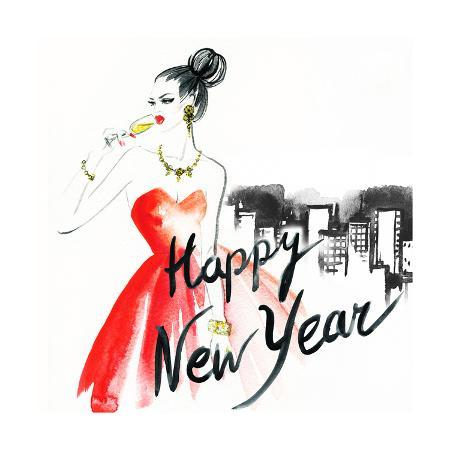 anna-ismagilova-woman-with-glass-of-champagne-christmas-and-new-year-holiday-celebration-watercolor-illustration