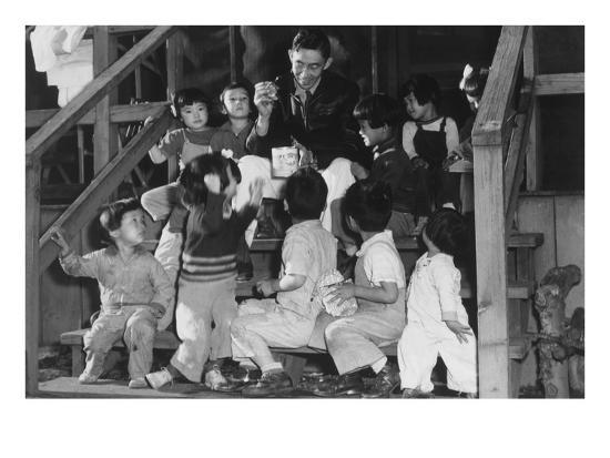 ansel-adams-mr-matsumoto-and-group-of-children