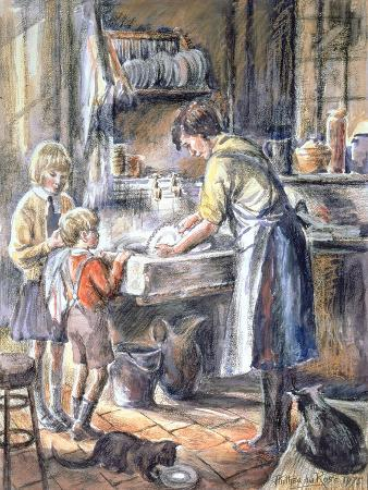 anthea-durose-helping-with-the-washing-up-1975