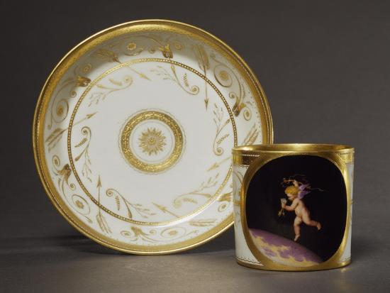 anton-kothgasser-cup-and-plate-decorated-with-plant-motifs-and-image-of-cupid
