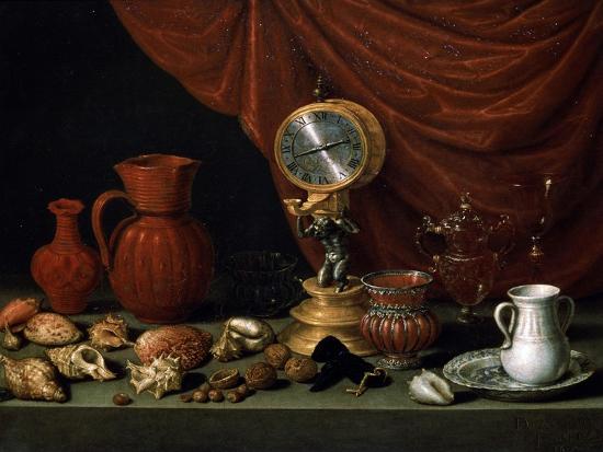 antonio-pereda-y-salgado-still-life-with-a-clock-1652