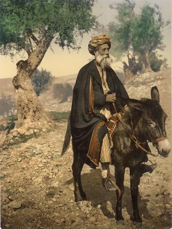 arab-man-from-bethlehem-on-his-donkey-c-1880-1900