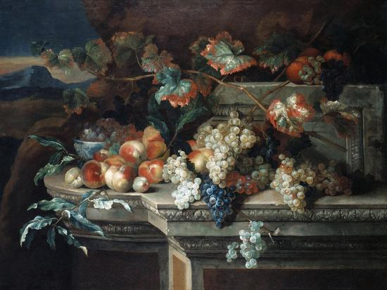 arnold-boonen-a-still-life-with-grapes-and-peaches-on-a-stone-ledge-in-a-landscape